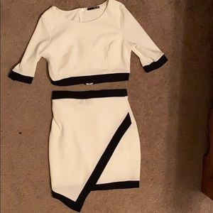 Black and white body con two piece dress